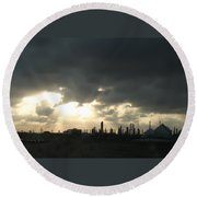 Houston Refinery At Dusk Round Beach Towel
