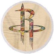 Houston Rockets Logo Art Round Beach Towel