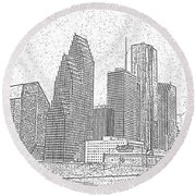 Houston Skyline Abstract Round Beach Towel