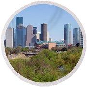 Houston Skyline And Buffalo Bayou Round Beach Towel