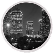 Houston Skyline At Night Black And White Bw Round Beach Towel