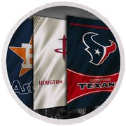 Houston Sports Teams Round Beach Towel