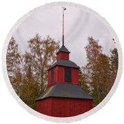 Houtskari Church Clock Tower Round Beach Towel