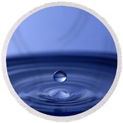 Hovering Blue Water Drop Round Beach Towel by Anthony Sacco