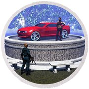 How Did You Get That Car Up There? Round Beach Towel