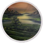 How Green Is My Valley Round Beach Towel by Cynthia Adams