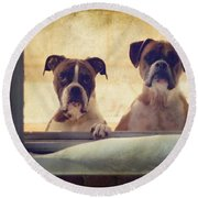 How Much Is That Doggie In The Window? Round Beach Towel by Stephanie McDowell