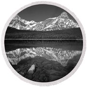 1m3643-bw-howse Peak Mt. Chephren Reflect-bw Round Beach Towel
