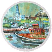 Howth Harbour 01 Round Beach Towel