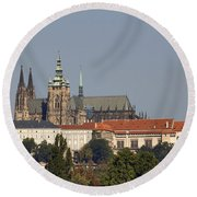 Hradcany - Cathedral Of St Vitus On The Prague Castle Round Beach Towel