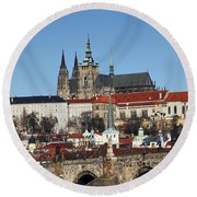 Hradcany - Prague Castle Round Beach Towel