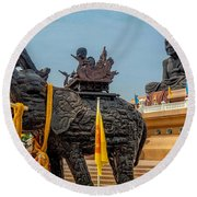 Huay Mongkol Temple  Round Beach Towel by Adrian Evans