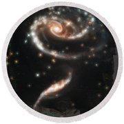 Hubble - Rose Made Of Galaxies Round Beach Towel