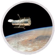 Hubble  Telescope  In  Orbit  Above  Earth Round Beach Towel