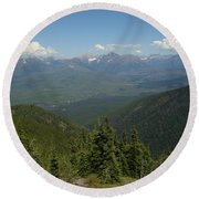 View Of The Rockies From Huckleberry Mountain Glacier National Park Round Beach Towel