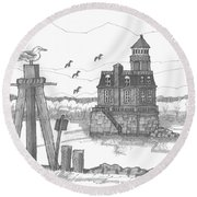 Hudson-athens Lighthouse Round Beach Towel