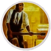 Huey Lewis-mario-gd19a-fractal Round Beach Towel