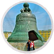 Huge Bell That Cracked In A Pit Inside Kremlin Walls In Moscow-r Round Beach Towel