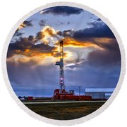 Sunset Over The Oil Rigs Round Beach Towel