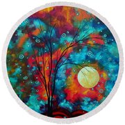 Huge Colorful Abstract Landscape Art Circles Tree Original Painting Delightful By Madart Round Beach Towel