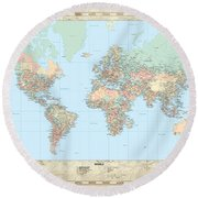 Huge Hi Res Mercator Projection Political World Map   Round Beach Towel