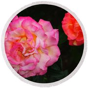 Huge Pink And White Rose...   # Round Beach Towel