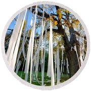 Huge Tree Covered In Toilet Paper Round Beach Towel