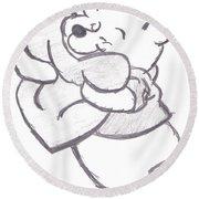 Huggable Pooh Bear Round Beach Towel by Melissa Vijay Bharwani