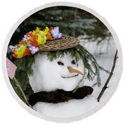 Hula Snowlady Round Beach Towel