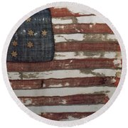 Hulbert Flag Early Us Flag 1776 Round Beach Towel by Photo Researchers