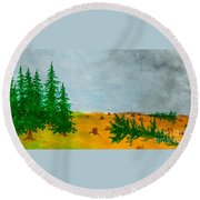 Human Destruction Round Beach Towel
