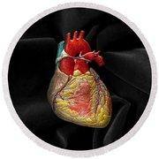 Human Heart On Black Velvet Round Beach Towel