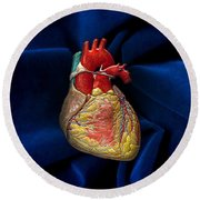 Human Heart On Blue Velvet Round Beach Towel