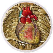 Human Heart Over Vintage Chart Of An Open Chest Cavity Round Beach Towel
