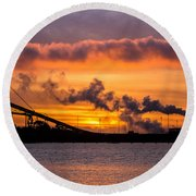 Humboldt Bay Industry At Sunset Round Beach Towel