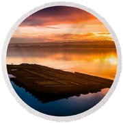 Humboldt Bay Spring Sunrise Round Beach Towel