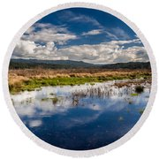 Humboldt Marshes In Spring Round Beach Towel