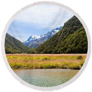 Humboldt Mountains Seen From Routeburn Track Nz Round Beach Towel
