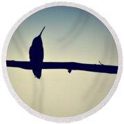 Humingbird At Sunset Round Beach Towel