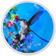 Hummer And Flowers On Acrylic Round Beach Towel