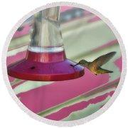 Humming Bird Feeding Round Beach Towel