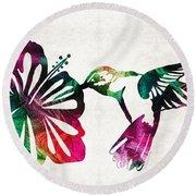 Hummingbird Art - Tropical Chorus - By Sharon Cummings Round Beach Towel