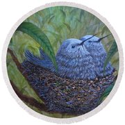 Hummingbird Babies Round Beach Towel