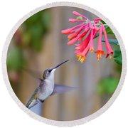 Hummingbird Happiness Round Beach Towel