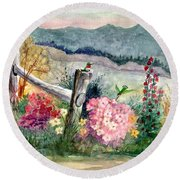 Hummingbird Haven Round Beach Towel