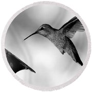 Hummingbird In Black And White Round Beach Towel