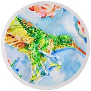 Hummingbird In The Roses Round Beach Towel