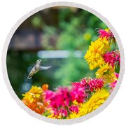 Hummingbird Moment Round Beach Towel