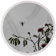 Hummingbird Silhouette I Round Beach Towel