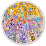 Hummingbird Spring Round Beach Towel
